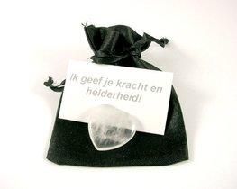 Bergkristal mini hart in geschenkzakje