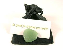 Groene Aventurijn mini hart in geschenkzakje