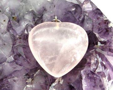Rozenkwarts hanger hart 3,5 cm