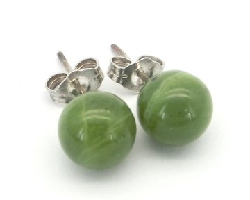 Oorknopjes Jade in zilver