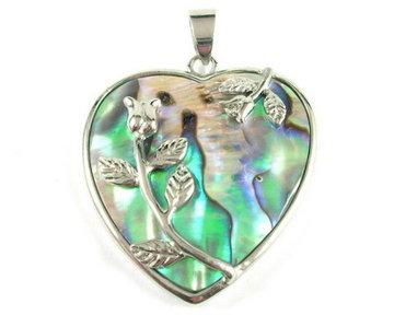 Parelmoer hart hanger (groene gloed)