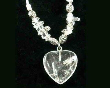 Hart hanger/ketting Bergkristal Energie en kracht