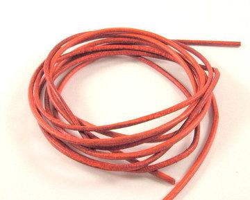 Leren veterkoord oranje/rood 2 mm
