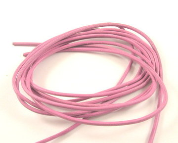 Leren veterkoord roze 2 mm