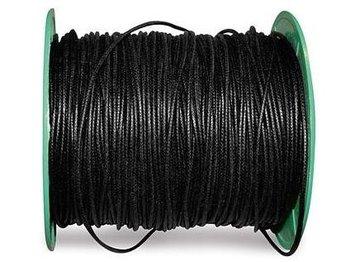 Waxkoord zwart 1 meter 2 mm dik
