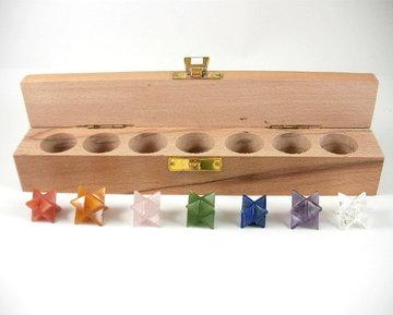 7 delige Merkaba (chakra) set in houten doos