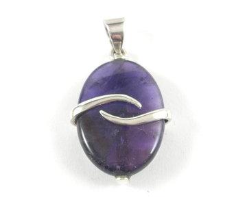 Amethist hanger in zilver