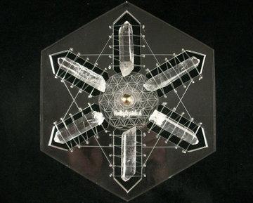 Edelstenen Mandala Bergkristal 6 ruwe AA punten 114 gram