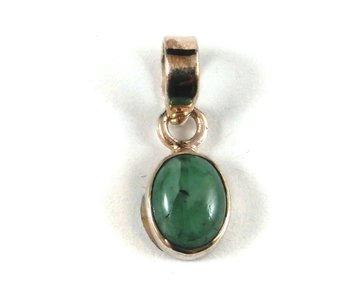 Smaragd hanger in zilver