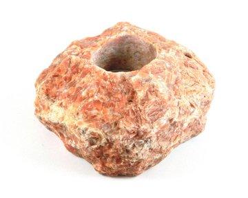 Theelichthouder rode Calciet 1,1 kg