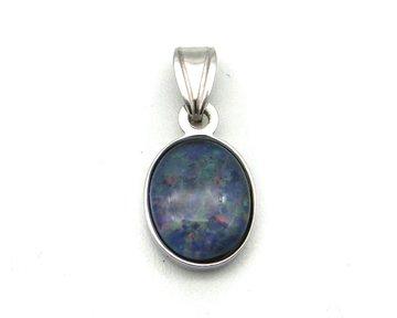 Opaal hanger in zilver