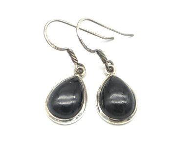 Zwarte toermalijn oorbellen in zilver